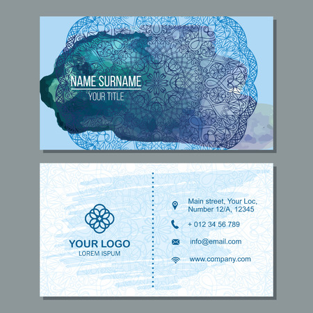 splash page: Visiting card and business card set with mandala pattern and simple . Abstract oriental design Layout with watercolor splash background. Front page and back page. Illustration