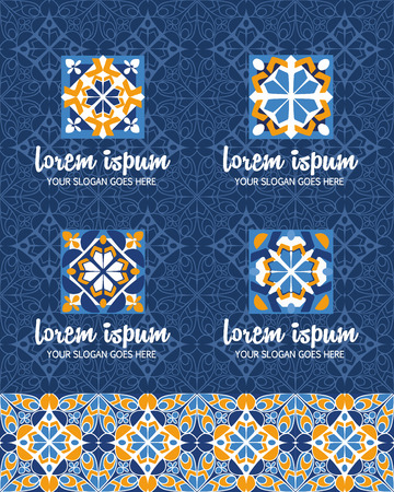 Vector abstract design elements set. Company emblem icons with ottoman motifs. Simple geometric mandala  for boutique, interior, cosmetics