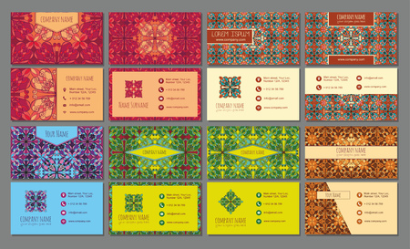 visiting card: visiting card and business card big set. Floral mandala pattern and ornaments. Oriental design Layout, ottoman motifs. Front page and back page. Illustration