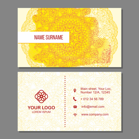 Visiting card and business card set with mandala pattern and simple . Abstract oriental design Layout with watercolor splash background. Front page and back page. Illustration