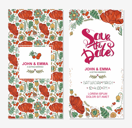Marriage invitation card with save the date tag and decorative flower flower frame over wooden background. Vector illustration. Illustration
