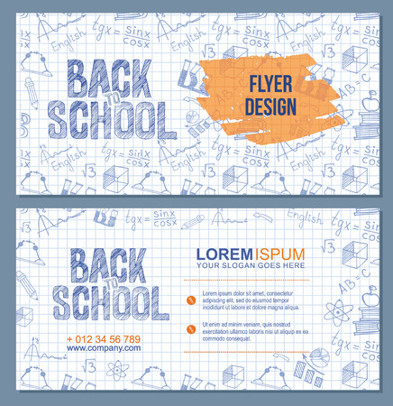 Back to school banner or flyer template set with  different school obgects. Vector Brochure design