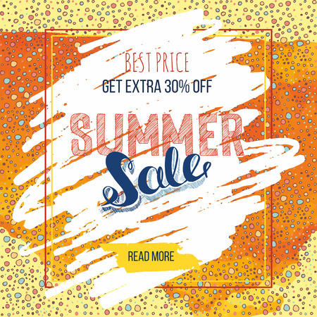 business card hand: Summer Sale decorative banner or business card. Hand drawn lettering Sale tag. Sale poster with abstract watercolor splash background.
