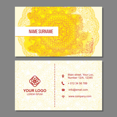 splash page: Visiting card and business card set with mandala pattern and simple logo. Abstract oriental design Layout with watercolor splash background. Front page and back page.