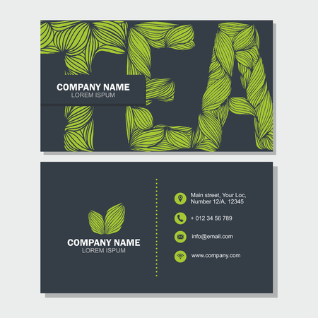 Business Card Or Visiting Card Template With Letter Tea . Vector.. Royalty  Free Cliparts, Vectors, And Stock Illustration. Image 59939585.  Editable Leaf Template
