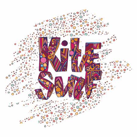 kite surfing: Design t-shirt with tag kitesurf.  Kite surfing school emblem design with decorative abstract background. vector illustration. Illustration