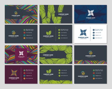 tarjeta del gran conjunto de negocios o de visita plantilla de tarjeta con fondos abstractos multicolores. diseño vectorial editable plantilla
