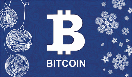 new year card with symbol bitcoin