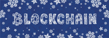 new year banner with symbol bitcoin and letter blockchain. Template with snowflakes Illustration