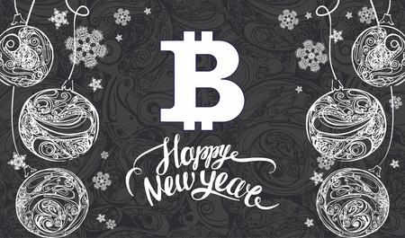 happy new year lettering and  bitcoin symbol. Banner Template with snowflakes and christmas decorations