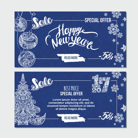Happy New Year card with xmas tree, snowflakes and handwritten lettering. Season sale banner template.