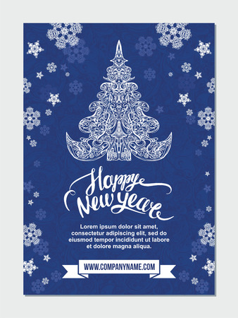 Happy New Year brochure flyer design template with handwritten lettering. Season cover layout in A4 size