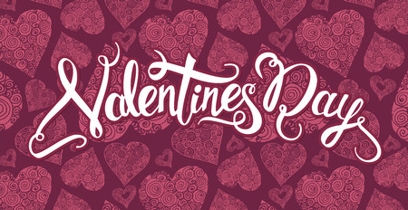 Handwritten Valentines Day calligraphy on red decorative  background with hand drawn hearts. Vector illustration with lettering Illustration
