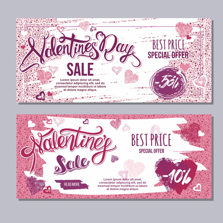 happy valentine day flyer template with hand drawn lettering. 14 February  banner set with decorative hearts Illustration