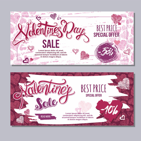 happy valentine day flyer template with hand drawn lettering. 14 February  banner set with decorative hearts on background