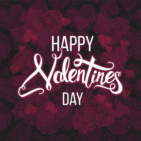 Happy Valentines Day  calligraphy on decorative  background with hand drawn hearts. Vector illustration with Handwritten lettering Illustration