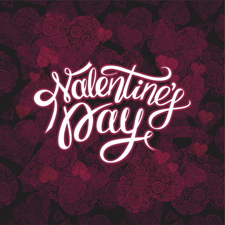 Valentines Day  calligraphy on decorative  background with hand drawn hearts. Vector illustration with Handwritten lettering