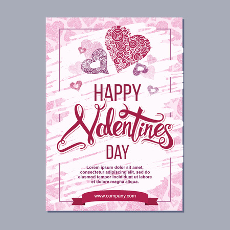 happy valentine day poster template with hand drawn lettering. 14 February  banner with decorative hearts on background