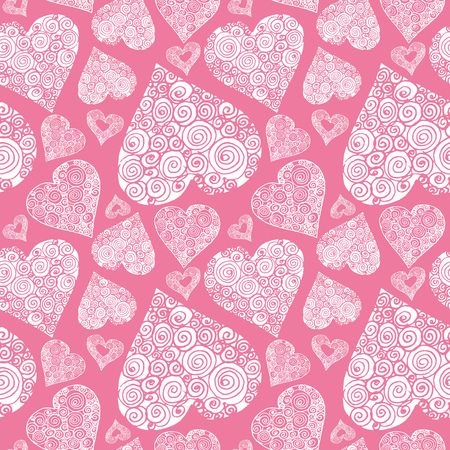 Happy Valentines day seamless pattern with decorative hearts on red background. Fabric texture