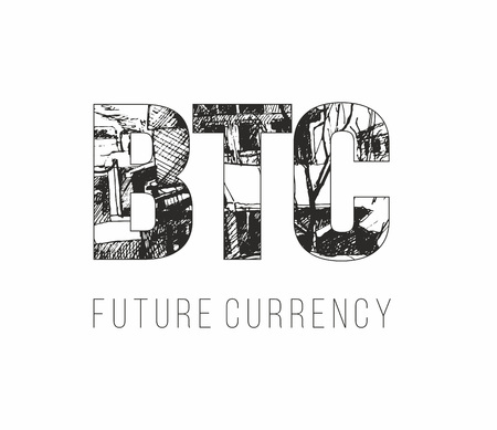 Bitcoin digital currency banner template. Hand drawn lettering BTC future currency
