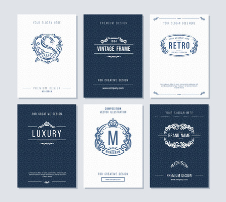Business cards template with monogram, logo, frame and design elements. Elegant design for  restaurant, jewelry or boutique