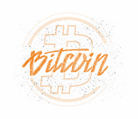 Bitcoin digital currency banner template. Hand drawn lettering Bitcoin Illustration