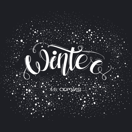 Hello Winter hand written inscription. Typography banner with hand lettering. Greeting card, poster or print for t-shirt