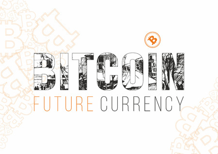 Bitcoin digital currency banner template. Hand drawn lettering Bitcoin future currency