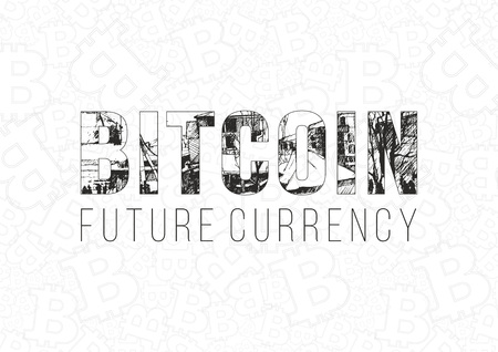 Bitcoin digital currency banner template. Hand drawn lettering Bitcoinfuture currency