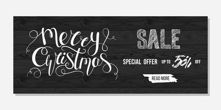 Merry Christmas sale advertising. Banner template with hand drawn lettering on wooden texture