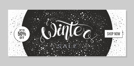 Winter sale advertising. Banner template with lettering Winter. Black and white