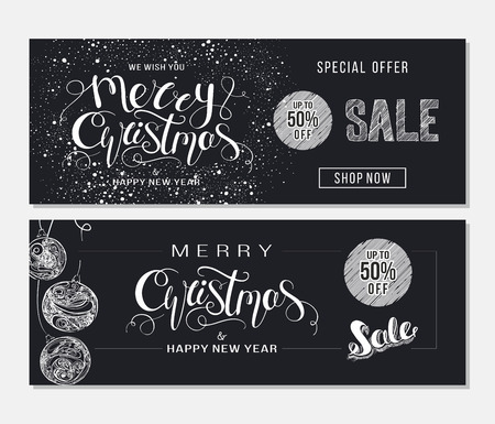 Merry Christmas sale advertising. Banner template with hand drawn lettering  and design elements