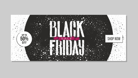 Black Friday sale advertising. Banner template with hand drawn lettering and design elements. Illustration