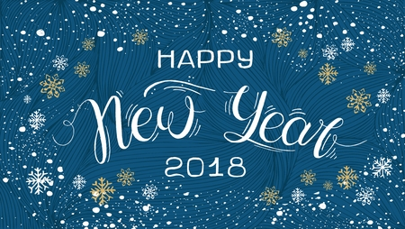 Merry Christmas and Happy New Year Banner template with hand drawn lettering  and design elements