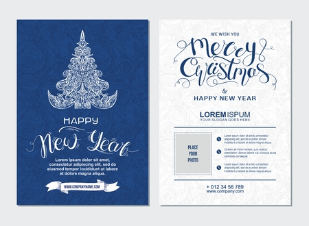 Merry Christmas and Happy New Year party placard. Poster template with hand drawn lettering and design elements