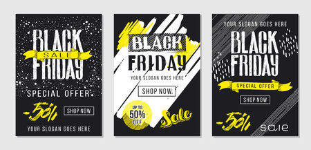 Black Friday sale advertising. Brochure template with lettering and hand drawn background