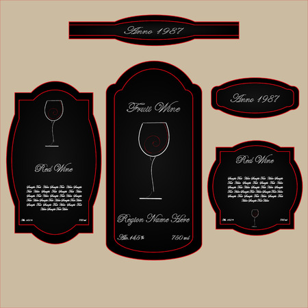 brandy: wine labels black and red background wineglass