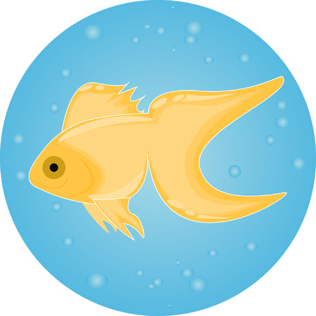 gold fish in water with bubbles zoo Illustration