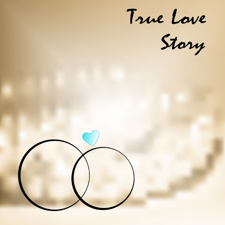 jewlery: true love with two weddings rings hand drawn on soft background Illustration