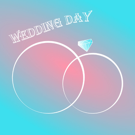 wedding day invitation card with two rings gem Ilustrace
