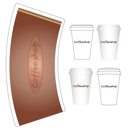 paper cup: coffee paper cup to go mock-up layout Illustration