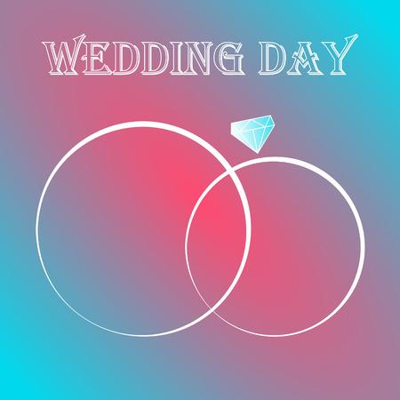 wedding hand drawn rings invitation card true love story Vector