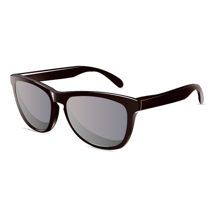 sunglasses reflection: summer time sunglasses black isolated unisex vector