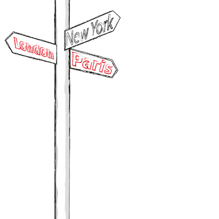 street sign: street sign showing cities london paris new york sample Illustration