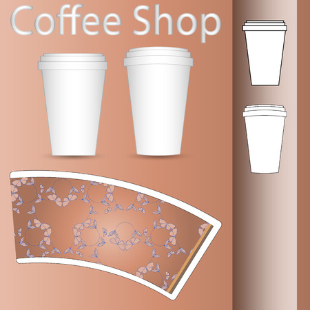 coffee to go: coffee paper cup to go mock-up layout Illustration