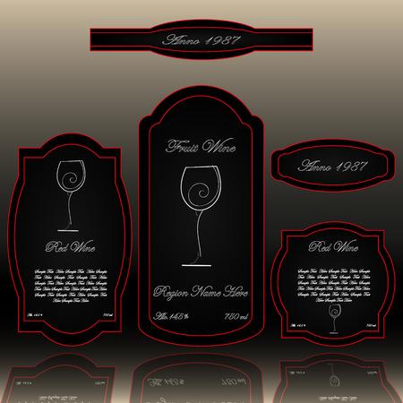 Wijnetiketten collectie zwart wit en rood