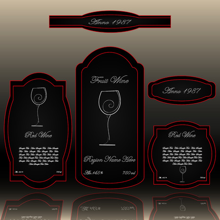white wine: Wine labels collection black white and red