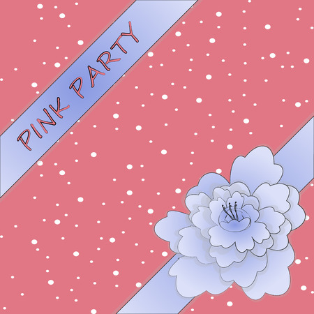 girly: peony ribbon with girly background. pink party Illustration