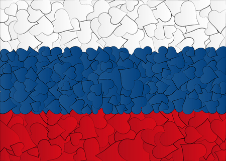 primacy: Hearts doodles hand drawn flag Russia, Moscow, with love from Russia Illustration
