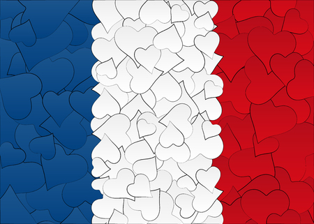 Hearts doodles hand drawn flag France, with love from France